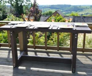 stylish outdoor eating from TDP with our Denby pinic table made from recycled plastic
