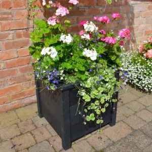TDP Planter made from recycled plastic in Black 500mm sqaure