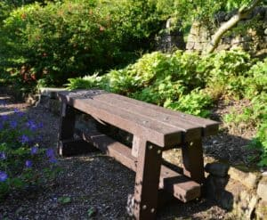 Trail bench made from recycled plastic waste handmade by TDP