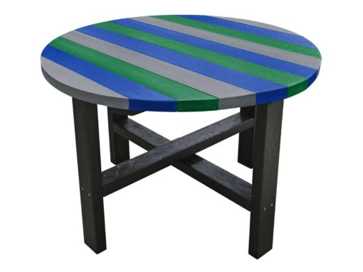 Cool coloured heavy duty garden table made from recycled plastic waste