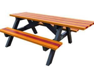 Tansley Wheelchair Access Picnic Table Fire Colours