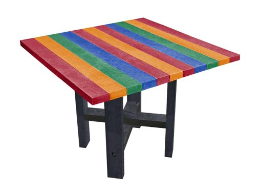 TDPs Hope dining table with rainforest coloured top, made from recycled plastic waste