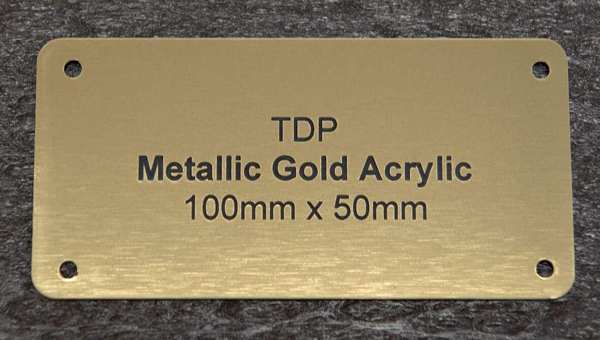 Metallic Gold Acrylic Plaque 100mm x 50mm