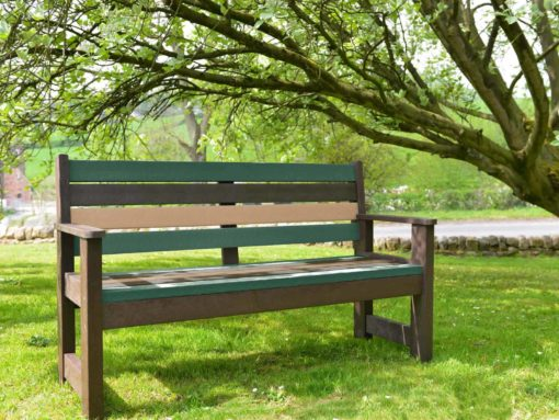 TDP Wirksworth Seat in Earth colours made from Recycled Plastic waste